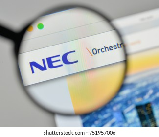 Milan, Italy - November 1, 2017: NEC logo on the website homepage.
