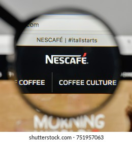 Milan, Italy - November 1, 2017: Nescafe logo on the website homepage.