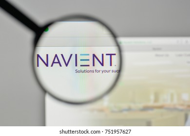 Milan, Italy - November 1, 2017: Navient logo on the website homepage.