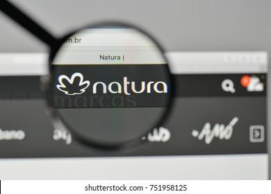 Milan, Italy - November 1, 2017: Natura Cosmeticos SA logo on the website homepage.