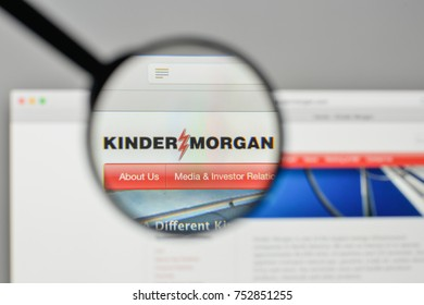 Milan, Italy - November 1, 2017: Kinder Morgan logo on the website homepage.