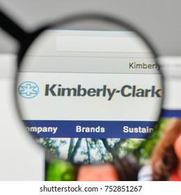 Milan, Italy - November 1, 2017: Kimberly-Clark logo on the website homepage.