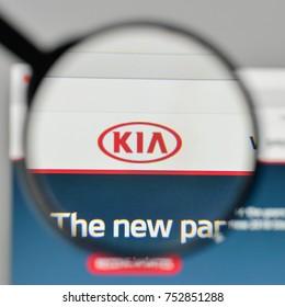 Milan, Italy - November 1, 2017: Kia logo on the website homepage.