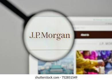 Milan, Italy - November 1, 2017: JP Morgan logo on the website homepage.
