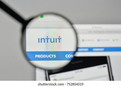 Milan, Italy - November 1, 2017: Intuit logo on the website homepage.