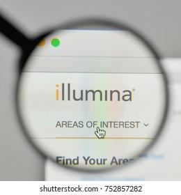 Milan, Italy - November 1, 2017: Illumina logo on the website homepage.