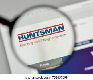 Milan, Italy - November 1, 2017: Huntsman logo on the website homepage.