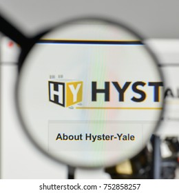 Milan, Italy - November 1, 2017: Hyster Yale Materials Handling logo on the website homepage.