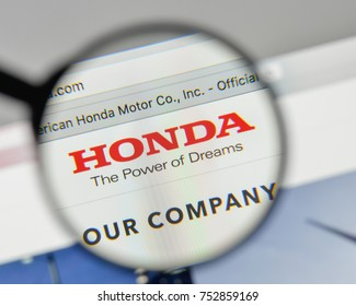 Milan, Italy - November 1, 2017: Honda logo on the website homepage.