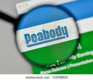 Milan, Italy - November 1, 2017: Peabody Energy logo on the website homepage.