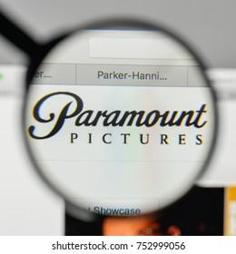Milan, Italy - November 1, 2017: Paramount logo on the website homepage.