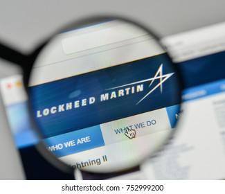 Milan, Italy - November 1, 2017: Lockheed Martin logo on the website homepage.