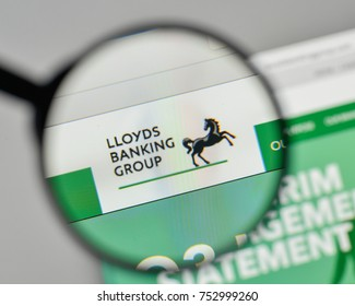 Milan, Italy - November 1, 2017: Lloyds Banking Group logo on the website homepage.