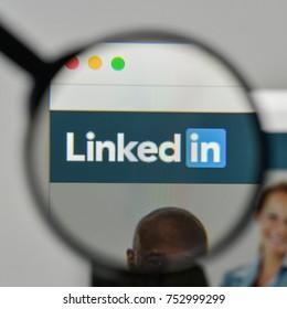 Milan, Italy - November 1, 2017: Linkedin logo on the website homepage.