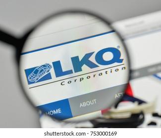Milan, Italy - November 1, 2017: LKQ logo on the website homepage.