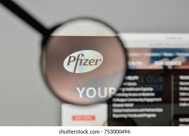 Milan, Italy - November 1, 2017: Pfizer logo on the website homepage.