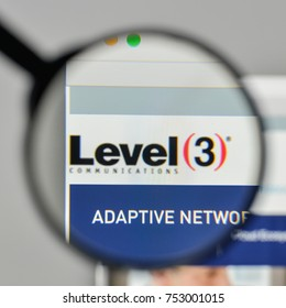 Milan, Italy - November 1, 2017: Level 3 Communications logo on the website homepage.