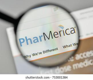 Milan, Italy - November 1, 2017: Phar Merica logo on the website homepage.