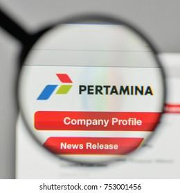 Milan, Italy - November 1, 2017: Pertamina logo on the website homepage.