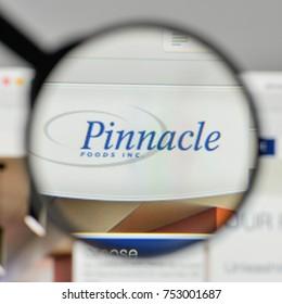Milan, Italy - November 1, 2017: Pinnacle Foods logo on the website homepage.