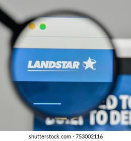 Milan, Italy - November 1, 2017: Landstar System logo on the website homepage.