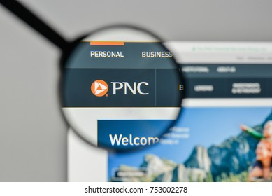 Milan, Italy - November 1, 2017: PNC Financial Services Group logo on the website homepage.