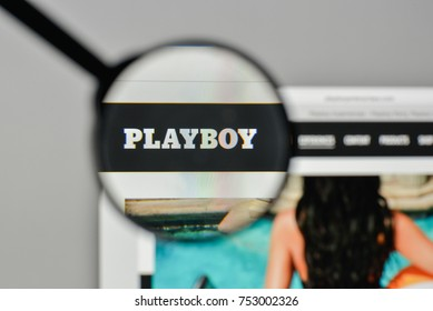 Milan, Italy - November 1, 2017: Playboy logo on the website homepage.