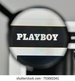 Milan, Italy - November 1, 2017: Playboy logo on the website homepage.