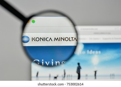 Milan, Italy - November 1, 2017: Konica Minolta logo on the website homepage.