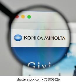 Milan, Italy - November 1, 2017: Konica Minolta logo on the website homepage.