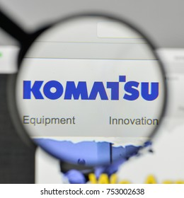 Milan, Italy - November 1, 2017: Komatsu Mining logo on the website homepage.