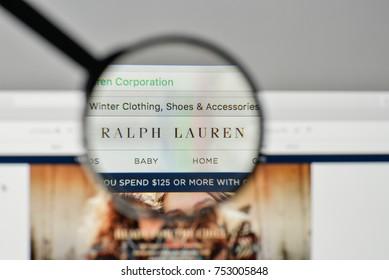 Milan, Italy - November 1, 2017: Ralph Lauren logo on the website homepage.