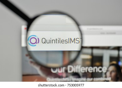 Milan, Italy - November 1, 2017: Quintiles IMS Holdings logo on the website homepage.