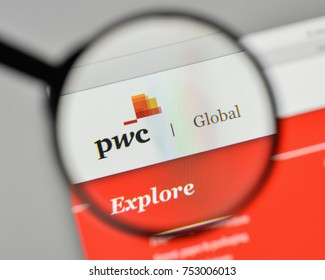 Milan, Italy - November 1, 2017: PwC logo on the website homepage.