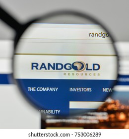 Milan, Italy - November 1, 2017: Randgold Resources logo on the website homepage.