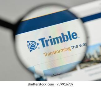 Milan, Italy - November 1, 2017: Trimble logo on the website homepage.