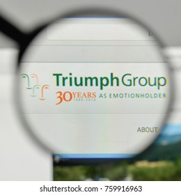 Milan, Italy - November 1, 2017: Triumph Group logo on the website homepage.