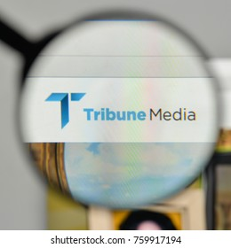 Milan, Italy - November 1, 2017: Tribune Media logo on the website homepage.