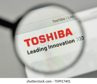 Milan, Italy - November 1, 2017: Toshiba logo on the website homepage.