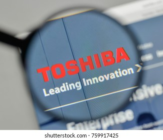 Milan, Italy - November 1, 2017: Toshiba logo on the website homepage.