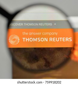 Milan, Italy - November 1, 2017: Thomson Reuters logo on the website homepage.
