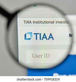 Milan, Italy - November 1, 2017: TIAA logo on the website homepage.