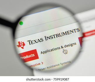 Milan, Italy - November 1, 2017: Texas Instruments logo on the website homepage.