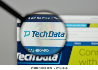 Milan, Italy - November 1, 2017: Tech Data logo on the website homepage.