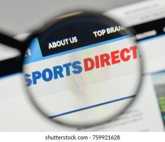 Milan, Italy - November 1, 2017: Sports Direct  International logo on the website homepage.