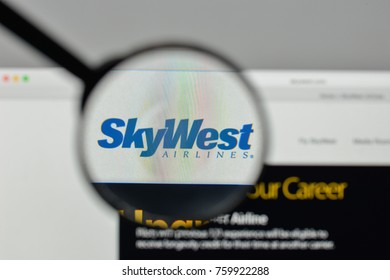 Milan, Italy - November 1, 2017: SkyWest logo on the website homepage.