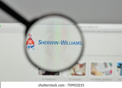 Milan, Italy - November 1, 2017: Sherwin Williams logo on the website homepage.