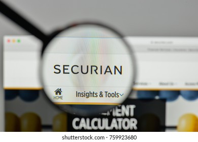 Milan, Italy - November 1, 2017: Securian Financial Group logo on the website homepage.