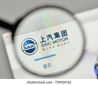 Milan, Italy - November 1, 2017: SAIC Motor logo on the website homepage.