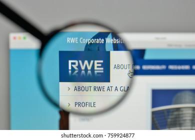 Milan, Italy - November 1, 2017: RWE logo on the website homepage.